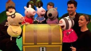 Peppa pig y sus amigos organizando la feria, diversión y aventuras.