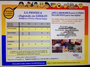 Horario y actividades a desarrollar y llevar a cabo en La Pioteca, ludoteca para ayudar a los padres en la conciliación familiar y laboral.