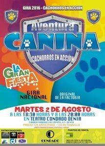 Cartel del evento en Alicante donde mayores y pequeños se divertiran con la aventrua de los cahorros.