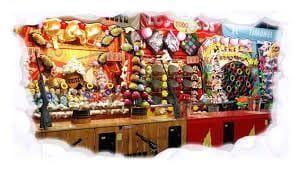 juego y diversión en recreativo infantil, con atracciones de puntería y premio