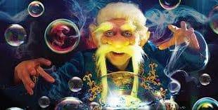 el mago de las burbujas ayudará a que las tristes burbujas vuelvan a ser felices