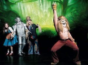 Dorothy y los amigos que conoce en el Mundo de Oz, emprenden un camino juntos.