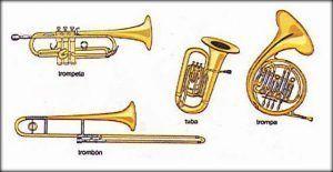 instrumentos de viento metal que se utilizarán durante el concierto para niños