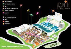 un mapa del Starlite Marbella, de sus diferentes zonas dónde disfrutar y divertirse durante las actuaciones
