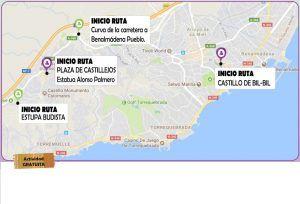 Mapa de información sobre las diferentes salidas de las rutas de sederismo y las historico-culturales