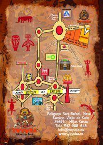 Mapa de acceso a las instalaciones de Yoyuba Adventure Park