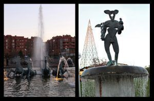 estatuas de las diferentes fuentes del parque