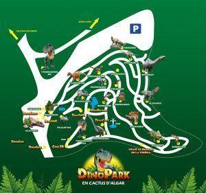 plano del DinoPark, dónde conocer dónde encontrar cada zona de diversión