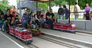 poder disfrutar de los paseos de los mini trenes por el recorrido del parque ferroviario