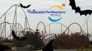 diversión en familia en los parques temáticos en la fiesta de Halloween