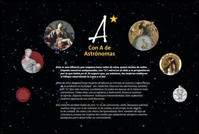 Con A de Astrónomas, una exposición completa, interactiva, juegos, imágenes, y una película