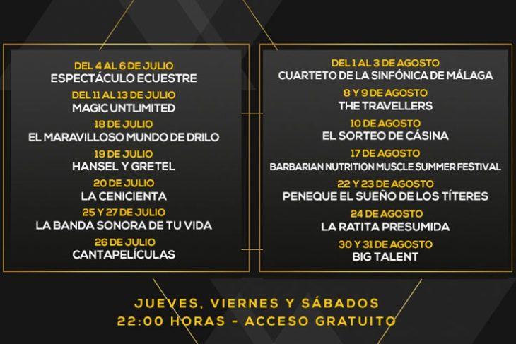 cartelera de las actuaciones que tendrán lugar durante el Festival de Verano en Plaza Mayor