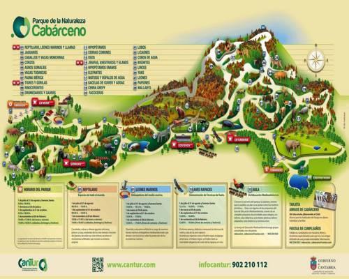 mapa del parque natural de Cabárceno dónde disfrutar de la naturaleza y los animales en vivo.